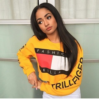shirt fashion killa yellow sweater cropped sweater