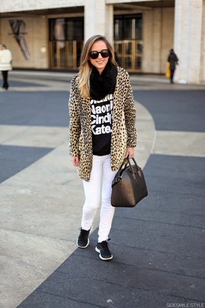 side smile style coat sweater jeans shoes bag