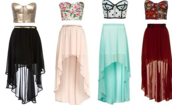 colorful high-low skirt crop tops outfit