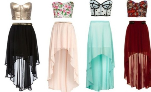 high low skirt crop tops colorful wheretoget