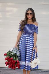 dress,tumblr,off the shoulder,off the shoulder dress,stripes,striped dress,midi dress,blue dress,flowers,sunglasses,bag