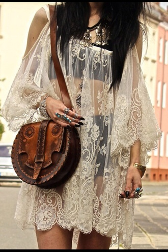 bag blouse dress lace hippie hippie☝️☝️ flowy boho boho dress white lace thin cover up  dress sheer sleeveless white free people see through dress lace dress sleeveless dress white dress summer dress shirt boho chic floaty dress top bohemian dress gypsy dress cardigan bohemian gypsy cover up hipster style outfit tumblr outfit jewels ring leather bag short dress mini dress cute cute dress boho jewelry