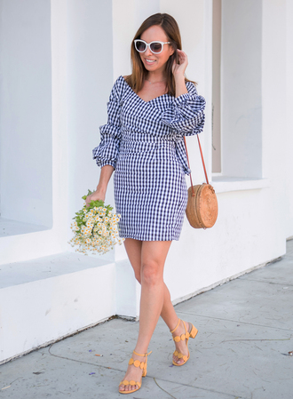 dress tumblr gingham dresses gingham mini dress wrap dress puffed sleeves bag round bag sandals mid heel sandals shoes sunglasses