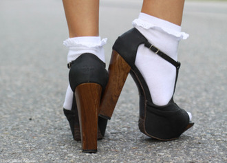 shoes high heels socks ruffle brown black wooden heel buckles