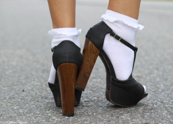 shoes black high heels wooden heel brown socks ruffles buckle