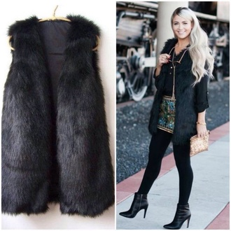 jacket faux fur black waist jackett