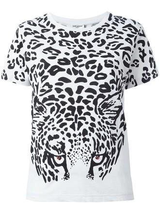 t-shirt shirt print leopard print white top