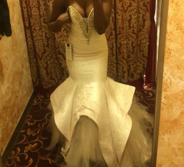 dress cream prom dress prom gown prom dress mermaid prom dress
