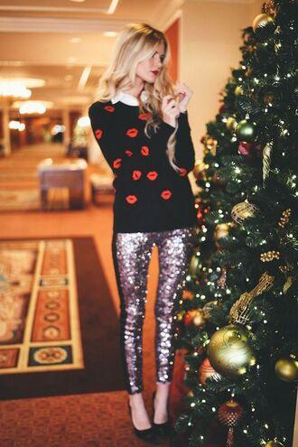 pants sequin pants lipstick sweater black heels
