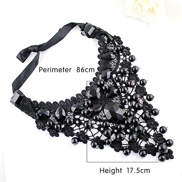 Black Gemstone Net Collar Neckalce - Sheinside.com