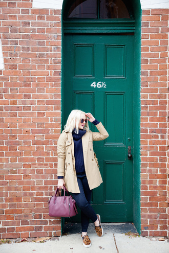 poor little it girl blogger sweater jeans bag coat shoes banana republic rebecca minkoff printed slippers leopard print print blue jeans blue sweater turtleneck turtleneck sweater trench coat nude coat burgundy bag