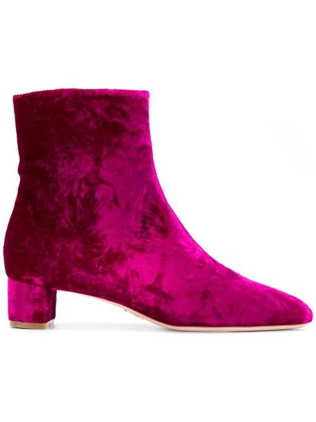 Oscar Tiye women ankle boots leather velvet purple pink shoes