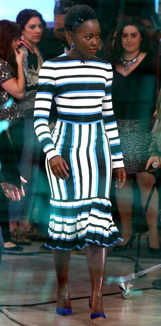 dress midi dress stripes striped dress pumps spring dress lupita nyong'o
