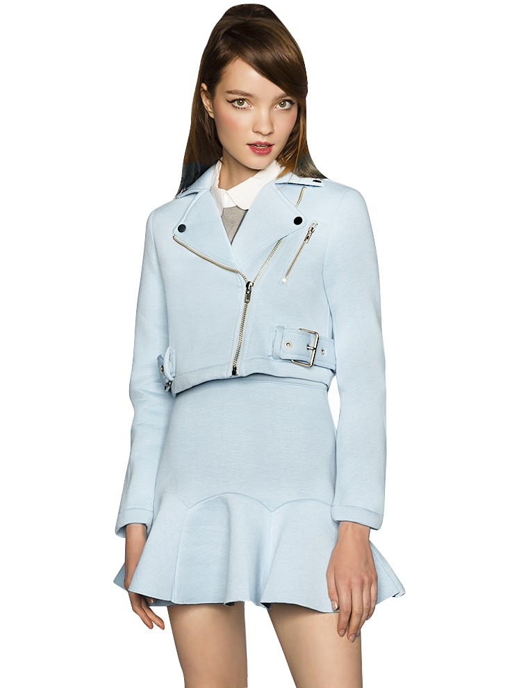 c9edc174a Baby Blue Jacket - Crop Pastel Biker Jacket - Fall Fashion