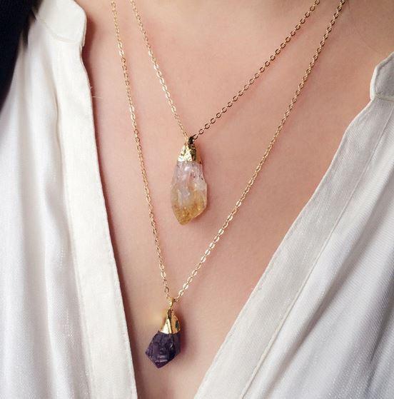 Jagged little quartz necklace