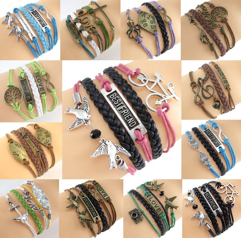 Fashion Alloy Infinity Anchor Rudder Owl Leather Friendship Love Couple Bracelet | eBay