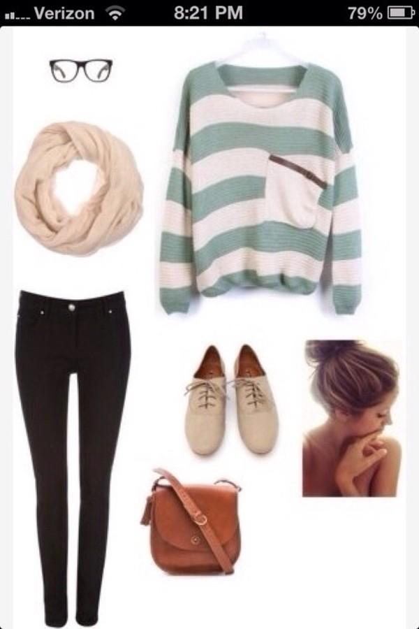 sweater stripes pocket t-shirt light blue turquoise shoes scarf bag
