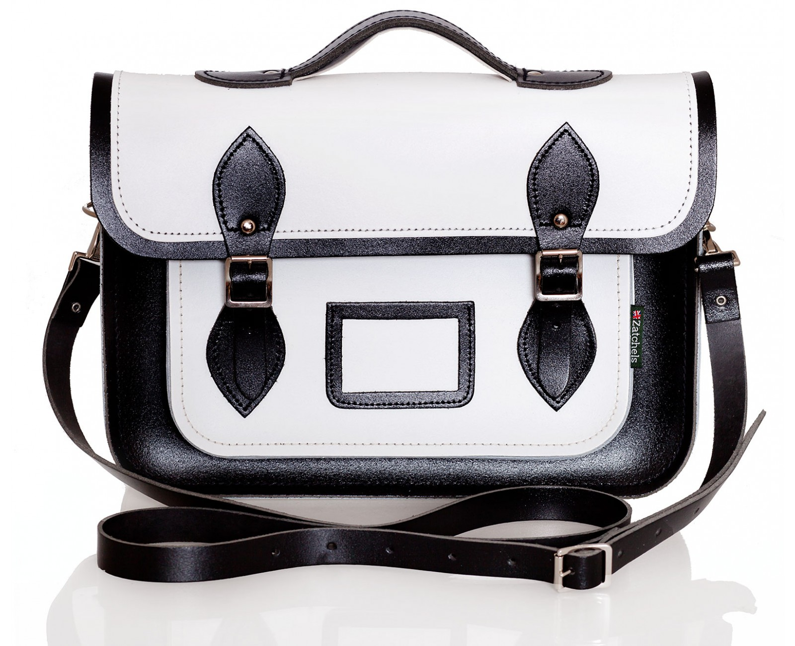 White and Black Harmony Leather Satchel