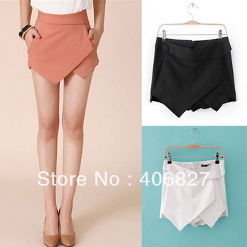Women's Summer Fashion Candy Colors Chiffon Tiered Zipped up Short Skirts Mini Shorts Pants Skorts FT020-in Shorts from Apparel & Accessories on Aliexpress.com
