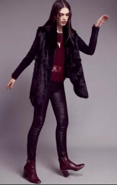 coat black fur coat