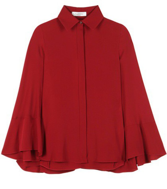 Valentino blouse cape silk red top