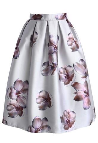 skirt chicwish peach blossom skirt print pleated midi skirt silver midi skirt fashion and chic