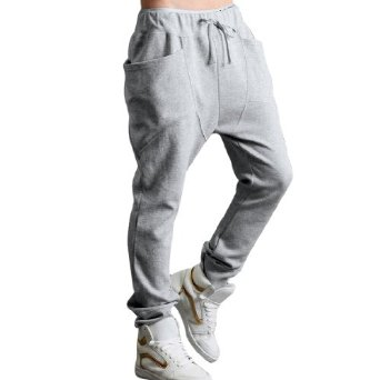 Amazon.com: Allegra K Mens Casual Drawstring Elastic Waist Baggy Straight Trousers Pants: Clothing