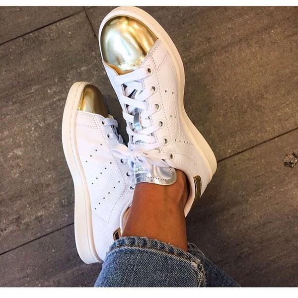 Adidas Stan Smith White Gold Silver