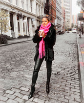 scarf,tumblr,pink scarf,coat,black coat,fur coat,winter outfits,pants,black pants,leather pants,black leather pants,boots,black boots