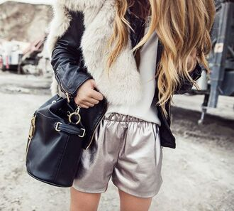shorts silver shorts jacket black jacket leather jacket bag black bag bucket bag fur scarf top white top metallic shorts