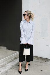bag,tumblr,white bag,pants,black pants,cropped pants,culottes,shirt,blue shirt,pumps,pointed toe pumps,shoes