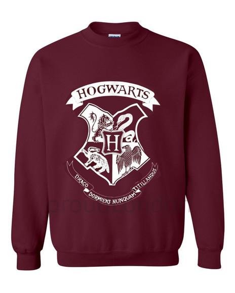 harry potter hogwarts sweater/sweatshirt hogwarts logo marron