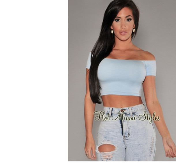 shirt crop tops blue