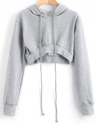 sweater girly grey grey sweater hoodie crop cropped sweater