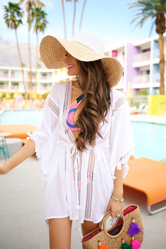 southern curls and pearls blogger swimwear jewels make-up floppy hat bikini cover up white dress beach dress beach bag