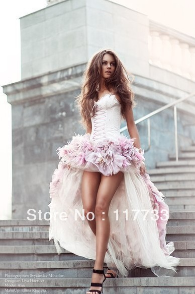 Wholesale new arrival 2013 sexy high low satin sweetheart organza pink corset wedding dress for bridal with flowers