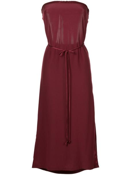 Kacey Devlin dress midi dress strapless women midi silk red