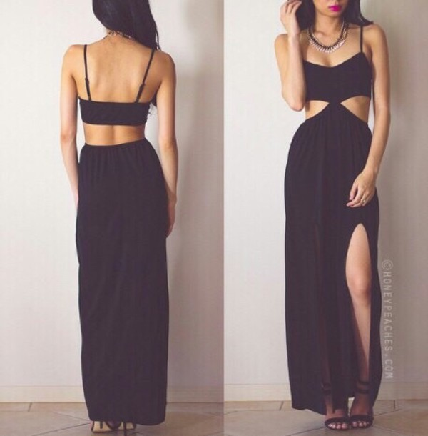 dress black dress maxi dress maxi black dress long dress long black dress high waisted dress cute dress trendy classy dress dress clothes dress.  black dress clothes dress black cut-out dress slit dress