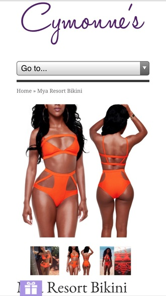 swimwear orange highwist