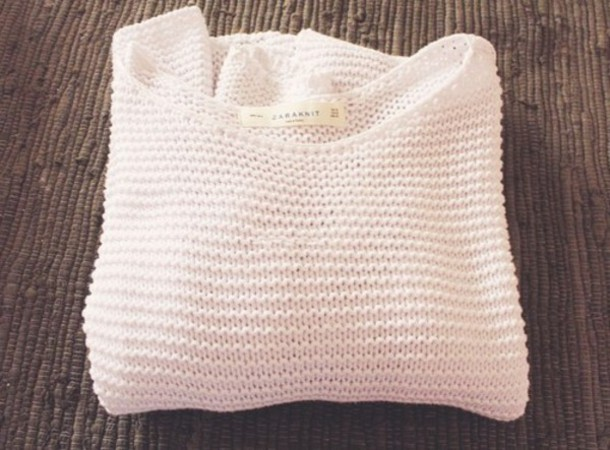 Sweater: white, white knit, white knitted, white knit sweater ...