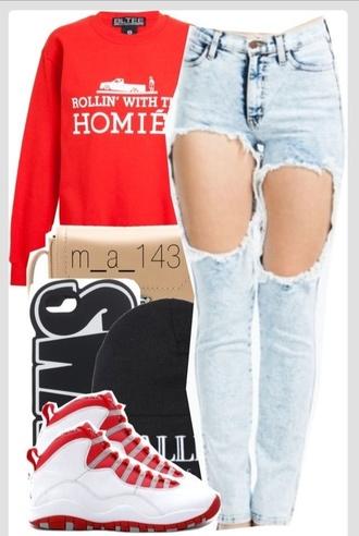 shoes jordans air jordan homies jeans tumblr clothes girly outfits tumblr tumblr sweater