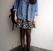 dress,vintage,grunge,floral,black,oversized,denim,jacket,bag