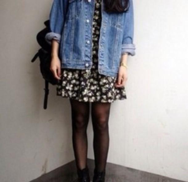 dress vintage grunge floral black oversized denim jacket bag