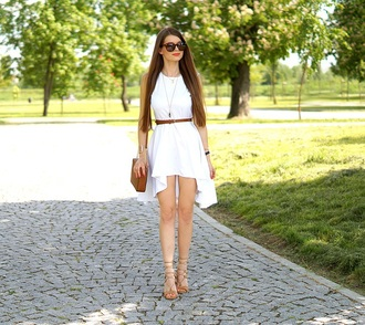 only my fashion style blogger bag dress jewels shoes white dress asymmetrical summer outfits