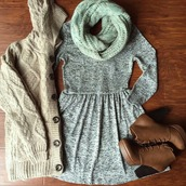 dress,scarf,shoes,long sleeve dress,winter dress,grey,boots,brown booties,booties,platform boots,grey dress,sweater,high heels,ankle boots,brown leather boots,knitwear,knitted sweater