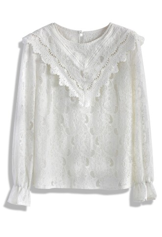 top victorian dream full lace top in white chicwish lace