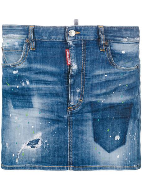 Dsquared2 skirt mini skirt denim mini women spandex cotton blue