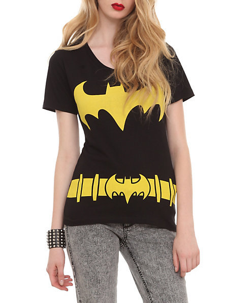 DC Comics Batman Costume V-Neck Girls T-Shirt on Wanelo