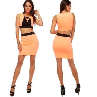 dress dress set two-piece orange skirt set party clubwear junior colorblock