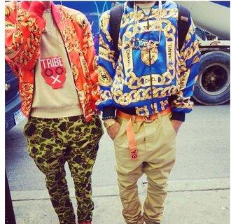 chanel jacket swag gold chain print pants